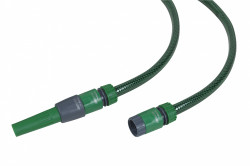 Batterie tuyau TUBIDRO guipe vert translucide 15m diam 15mm + 4 raccords et lance