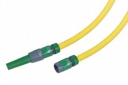 Batterie tuyau arrosage tricoté jaune 20m diam 15mm + 4 raccords et lance