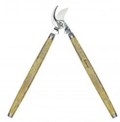 Coupe branche inox poli, lames courbes, poignées bois, 63 cm